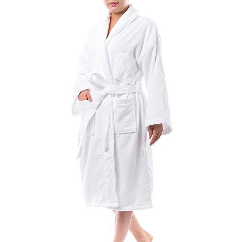 alpine swiss Blair Womens Cotton Terry Cloth Bathrobe Shawl Collar Velour Spa Robe,White,Small / Medium