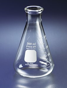 PYREX 1L Narrow Mouth Erlenmeyer Flasks with Heavy Duty Rim, 3/pk