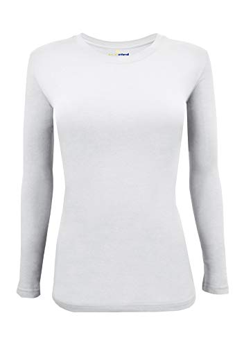 Natural Uniforms Women's Under Scrub Tee Crew Neck Long Sleeve T-Shirt (White, Medium)