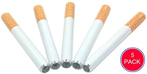 5 pcs 3 inch Alloy Tobacoo Holder-Fake Cigarette Shape Tobacoo Pipes,Small Pipe,Metal Hitter Tobacoo Accessorie