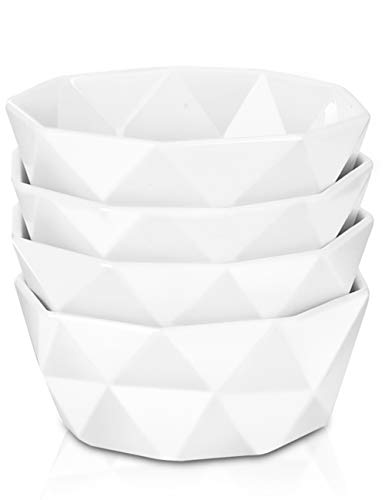 Delling 22 Oz Geometric Cereal Bowls, White Soup Bowls Dessert/Nut Bowls Set for Rice Pasta Salad Oatmeal, Microwave/Dishwasher/Oven Safe Set of 4