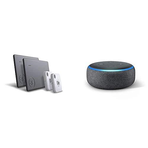 Tile Mate & Slim (2020) - 4-Pack (2 Mates, 2 Slims) Echo Dot (3rd Gen) with Amazon Smart Speaker with Alexa