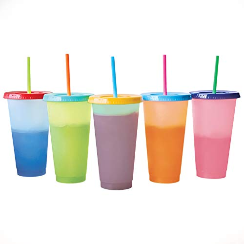 Color Changing Cold Drink Cups: 24oz Blank Cold Cups - 5 Reusable Cups, Lids and Straws - Summer Coffee Tumblers - Summer Cups, Set of 5 (Pastels)