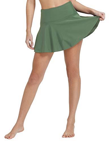 BALEAF Women's Swim Skirt High Waisted Flounce Swimming Skort Bikini Bottom Tankini Swimsuit Army Green XXXL