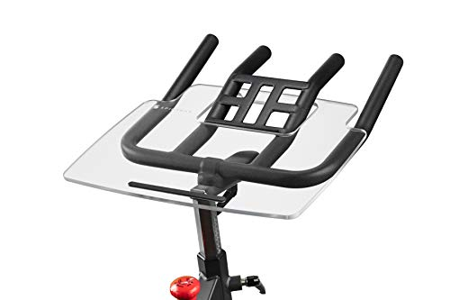 The Tray by TFD - Work & Ride Desk for Sunny Health SF-B1805 - Holder for Laptop, Tablet, Phone, & Book - Exercise Bike Workstation - Clear Acrylic - Easy Mount - Spin Bike Accessories - Made in USA