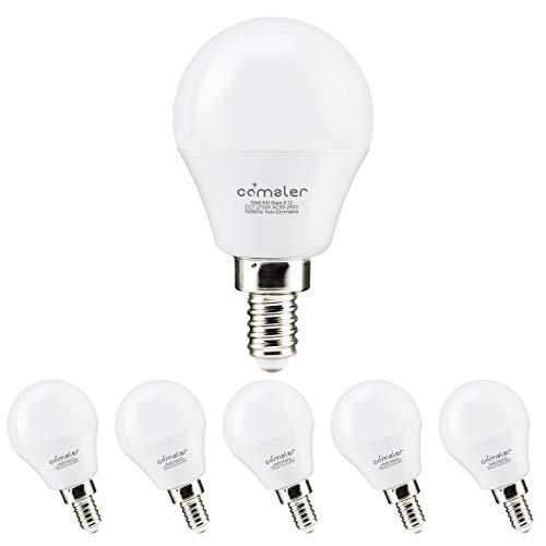 Comzler A15 LED Bulbs 60W Equivalent, Warm White 2700K, E12 Candelabra Base LED Globe Bulb for Ceiling Fan, No Dimmable,6 Pack