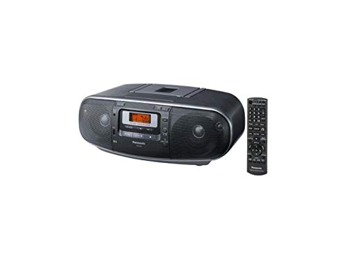 Panasonic RX-D55GC-K Boombox - High Power Portable Stereo AM/FM Radio, MP3 CD, Tape Recorder with USB & Music Port Sound with 2-Way 4-Speaker (Black) (Renewed)