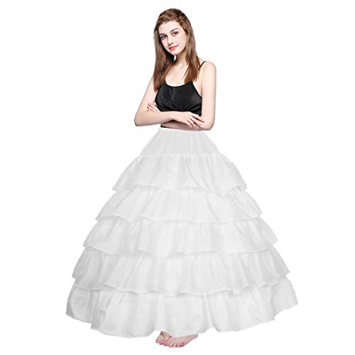 Underskirt Bridal Petticoat Ball Gown Petticoat Tulle, White, Size One Size