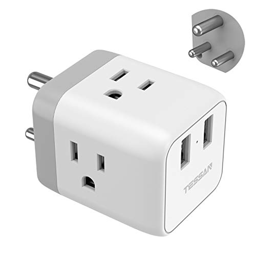 India Plug Adapter, TESSAN 5 in 1 Nepal Travel Adapter Plug with 3 US Power Outlets and 2 USB Charging Ports, US to India Bangladesh Maldives Nepal Pakistan Plug Adapter - Safe Grounded Type D Plug