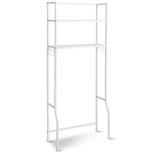 Giantex Over-The-Toilet Storage Shelf, Bathroom Metal Spacesaver Rack with 2 Tier Rack, Hooks, Adjustable Feet Multifunctional Space-Saving Storage Rack,White