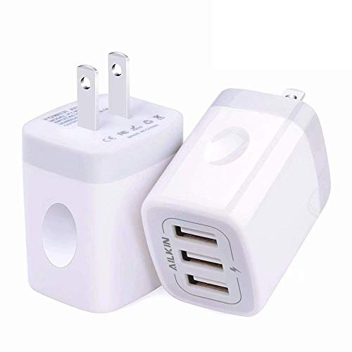 USB Wall Charger(2Pack), Ailkin 3.1A/3-Port Quick Charging Adapter, USB Plug Cube Box Block Base Replacement for Phone X/8/7, Pad, Samsung, Vivo, LG, Google Nexus and More USB Charging Phone