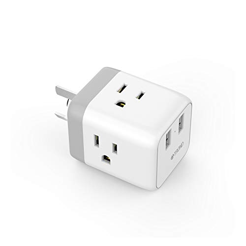 Australia New Zealand China Power Adapter, TROND 5-in-1 Travel Plug Adapter with 2 USB Ports, 3 American Outlets, for USA to Argentina Cook Islands Fiji Samoa, Type I