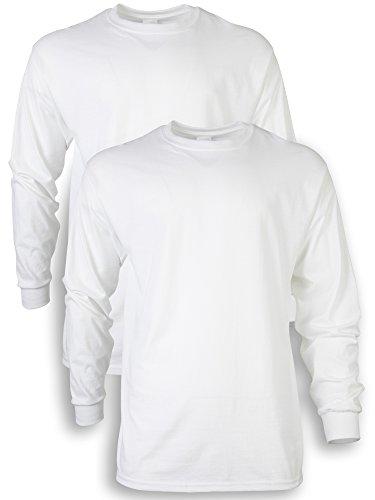 Gildan Men's Ultra Cotton Adult Long Sleeve T-Shirt, 2-Pack, White, Large