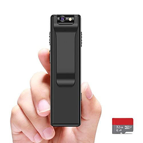 Wearable Wireless Video Audio Recorder-AfaiTEK Mini Body Camera w/ 32GB SD Card, Small Security Cameras, Digital Voice Recording Device, Portable Body Cams for Civilians, Trail Sport Camara No WiFi