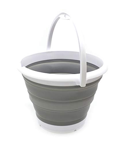 SAMMART 10L (2.64Gallon) Collapsible Fishing Bucket - Foldable Round Tub - Portable Plastic Water Pail - Space Saving Outdoor Waterpot - Trunk Organizer (1, Grey)