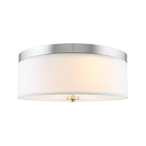 Kira Home Walker 15' Mid-Century Modern 3-Light Flush Mount Ceiling Light, White Fabric Shade + Round Glass Diffuser, Brushed Nickel Finish