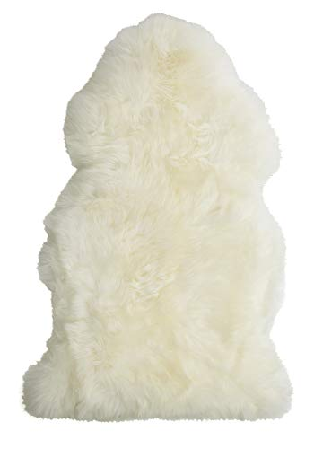 Single Pelt, New Zealand Premium Sheepskin, Ivory Rug, XL 104cm / 41', Thick Soft Luxurious Natural Wool, by Minidoka Sheepskin