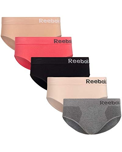 Reebok Womens Seamless Hipster Panties 5-Pack (Medium, Black/Nude/Hot Pink/Rose Pink/Grey)