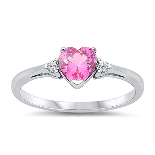 Oxford Diamond Co Sterling Silver Gemstone Heart Promise Love Jewelry Ring Sizes 3-12 (Rose Pink Cubic Zirconia, 6)