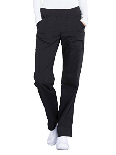 Cherokee Workwear Professionals Mid Rise Straight Leg Pull-on Cargo Scrub Pant, XXS Petite, Black