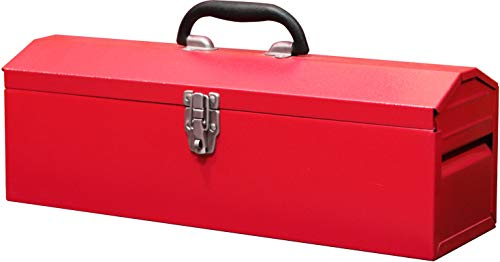 BIG RED TB101 Torin 19' Hip Roof Style Portable Steel Tool Box with Metal Latch Closure and Removable Storage Tray, Red