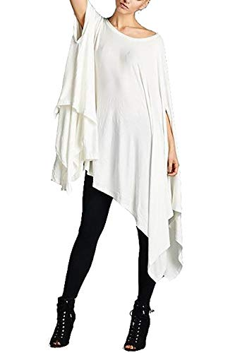 Vivicastle Women's Loose Bat Wing Dolman Poncho Tunic Dress Top (One Size, White)