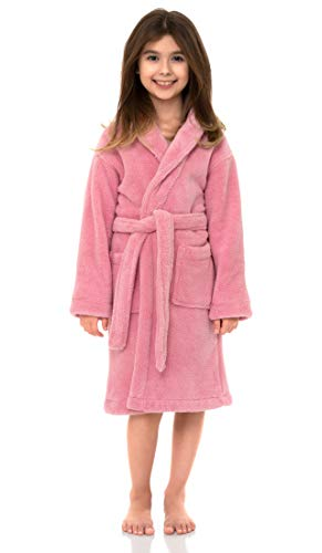 TowelSelections Big Girls' Robe, Kids Plush Shawl Fleece Bathrobe Size 14 Pink Nectar