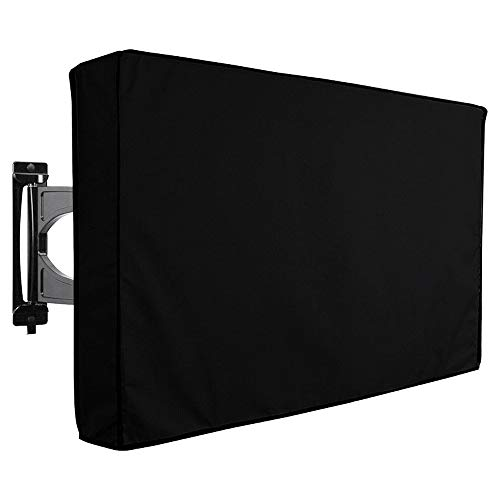 Outdoor TV Cover Mayhour Heavy duty Waterproof TV Cover Box Black with Bottom Seal Heat Resistant Weatherproof Dustproof Anti UV Durable Outside Television Protector (65-70in)
