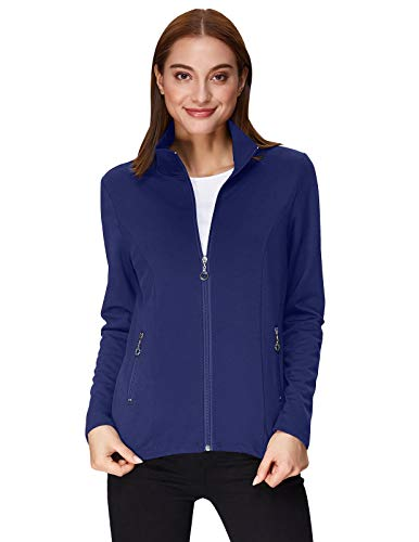 Kate Kasin Casual Slim Fit Long Sleeve Jacket Running Parka Stand Collar (M,Navy Blue)