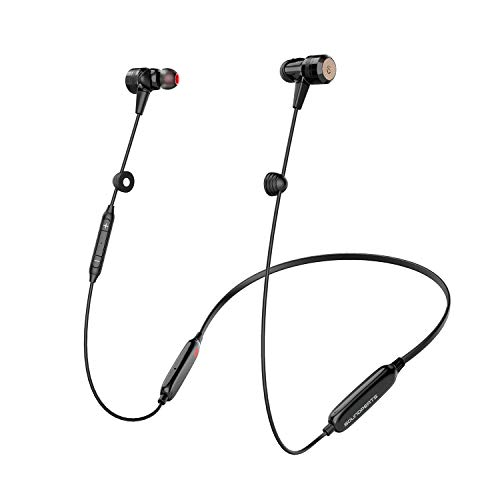 SOUNDPEATS Explorer Lite Wireless Bluetooth 5.0 Immersive Headphone, Stereo Haptic Bass Sound, Subwoofer in-Ear Earphones with Dual Drivers, CVC 6.0 Built-in Mic, Neckband Sports Earbuds for Running
