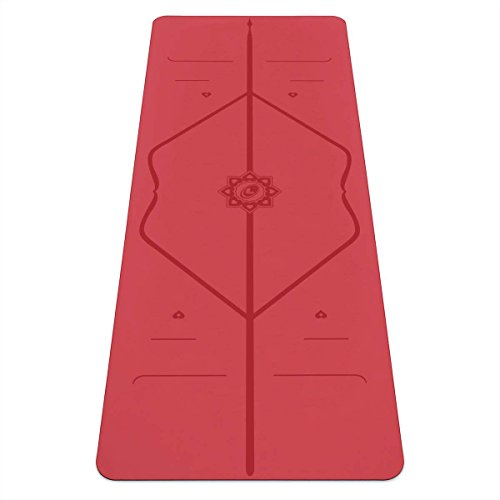 Liforme Love Yoga Mat - Patented Alignment System, Warrior-Like Grip, Non-Slip, Eco-Friendly, Biodegradable, Sweat-Resistant, Long, Wide and Thick for Comfort (Red)