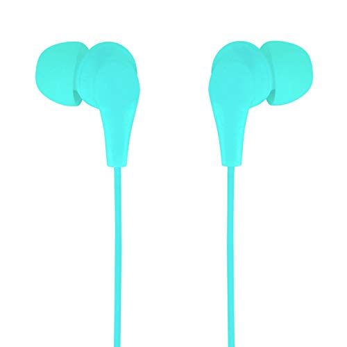Axilleo S-02 Wired Earbuds/Earphone with Microphone | Noise Cancelling. in- Ear Headphones with 3.5mm Jack for Android, iPhone, Laptop, Computer, Apple, iPad, PC (Green or Cyan)