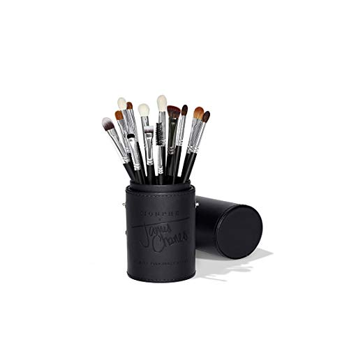 Morphe x James Charles Eye Brush Set - Curated Set of 13 Full-Sized Eye Brushes for Creating Colorful, Blended Looks On-The-Go - Natural and Synthetic with a Custom Tubby