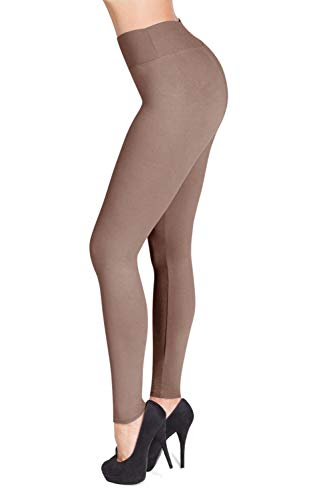 SATINA #1 High Waisted Buttery Soft Leggings | Regular and Plus Size | 22 Colors (One Size, Tan)