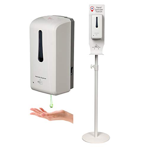 Standing Automatic Sanitizer Dispenser Movable Sanitizer Station with Height Adjustable Metal Stand and Refillable Canister Anti-theft Design