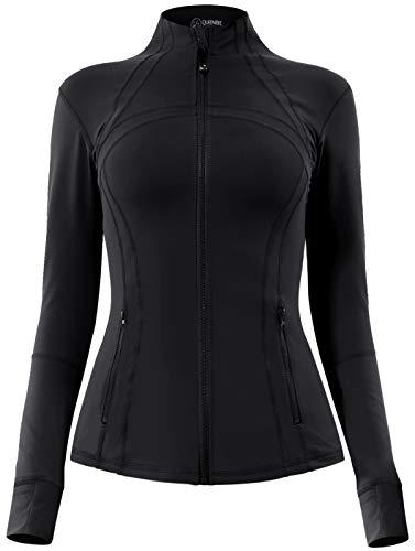 QUEENIEKE Women's Sports Define Jacket Slim Fit and Cottony-Soft Handfeel Size S Color Black Pro