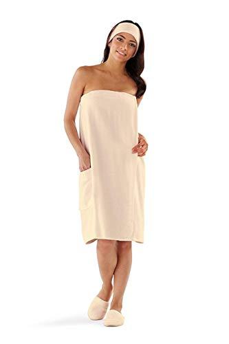 Boca Terry Womens Spa Wrap - 100% Cotton Spa, Shower, Bath and Gym Towel w Snaps - Ecru XXL