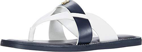 Tommy Hilfiger Women's Flat Sandal, Blue Multi, 6.5