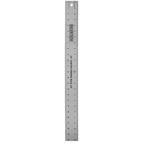 Stainless Steel Center Finding Ruler. Ideal for Woodworking, Metal Work, Construction and Around The Home (24' Ruler)