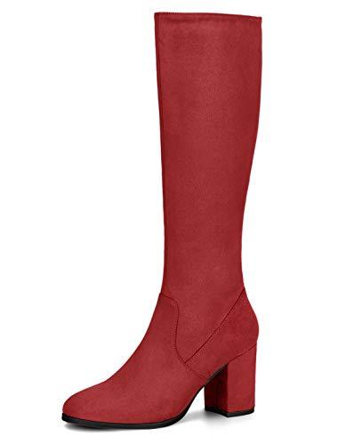 Allegra K Women's Side Zipper Chunky Heel Red Knee High Boots 7 M US
