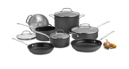 Cuisinart Chef's Classic Nonstick Hard-Anodized 11-Piece Cookware Set,Black