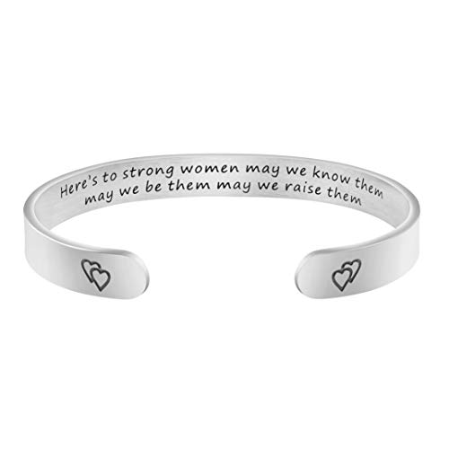Joycuff Women Empowerment Gift Strong Jewelry Strength Inspirational Bracelet Friend Encouragement Gift Motivational Mantra Cuff Bangle