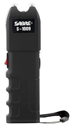SABRE Tactical Stun Gun—Anti-Grab Technology (Shocks Person If They Try to Take)–Charge Emits Intimidating 95 dB—120 Lumen Flashlight, Wrist Strap & Holster