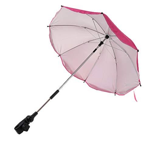 menolana Baby Stroller Sunshade/Stroller Umbrella/UV Proteion Umbrella 360 Deees Adjustable Direion Stroller Accessories - Rose Red, 68x65cm