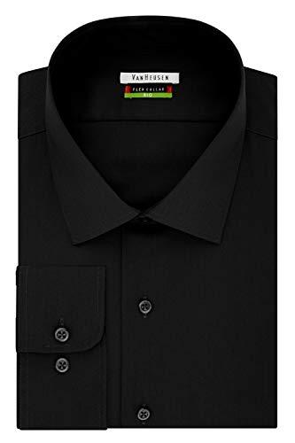 Van Heusen Men's Big and Tall Flex Fit Solid Spread Collar Dress Shirt, Black, 18' Neck 32'-33' Sleeve