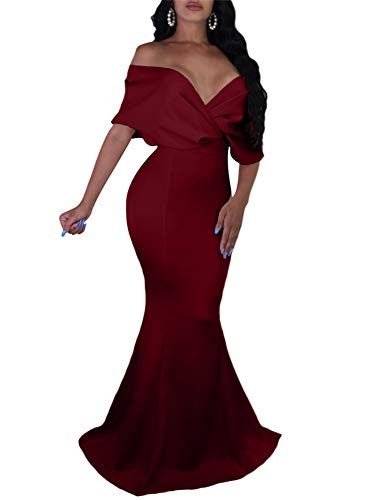 GOBLES Women Sexy V Neck Off The Shoulder Evening Gown Fishtail Maxi Dress Wine Red