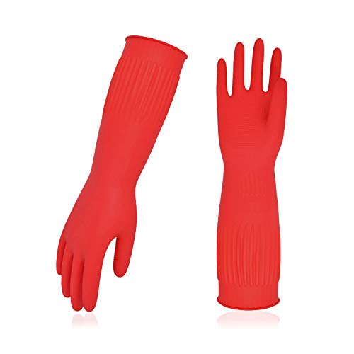 Vgo 10-Pairs Dishwashing Gloves, Reusable Household Gloves, Kitchen Gloves, Long Sleeve, Thick Latex, Cleaning, Washing, Working, Painting, Gardening, Pet Care (Size L, Red, RB2143)