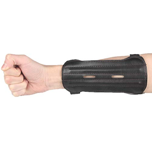 KRATARC Archery Youth Arm Guard Kids Protector Adjustable for Hunting Shooting Arrows Bow (Black- Upgraded Version)