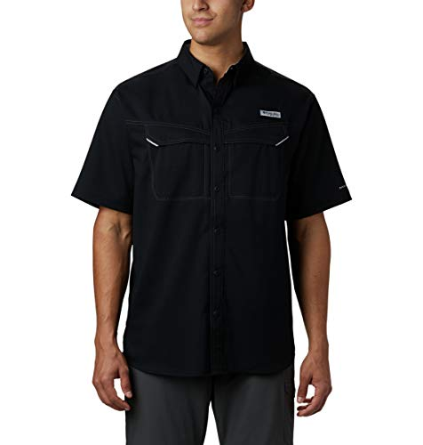 Columbia Men's Low Drag Offshore Short Sleeve Shirt, UPF 40 Protection, Moisture Wicking Fabric , Black , XX-Large