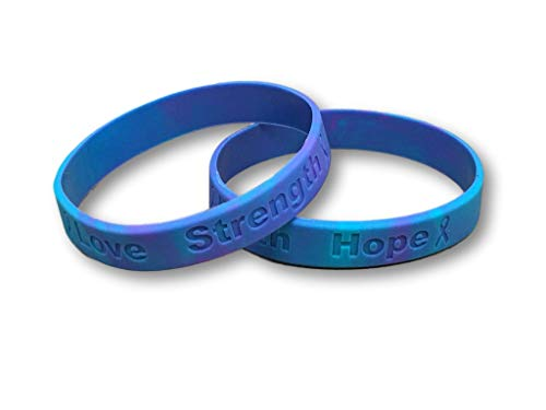 2 Suicide Teal and Purple Silicone Awareness Bracelets - Medical Grade Silicone - Latex and Toxin Free (2 High Quality Bracelets)